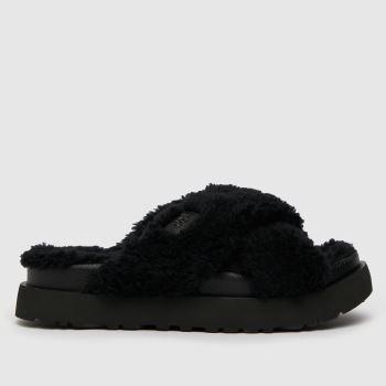 UGG Black Fuzz Sugar Cross Slide Womens Slippers