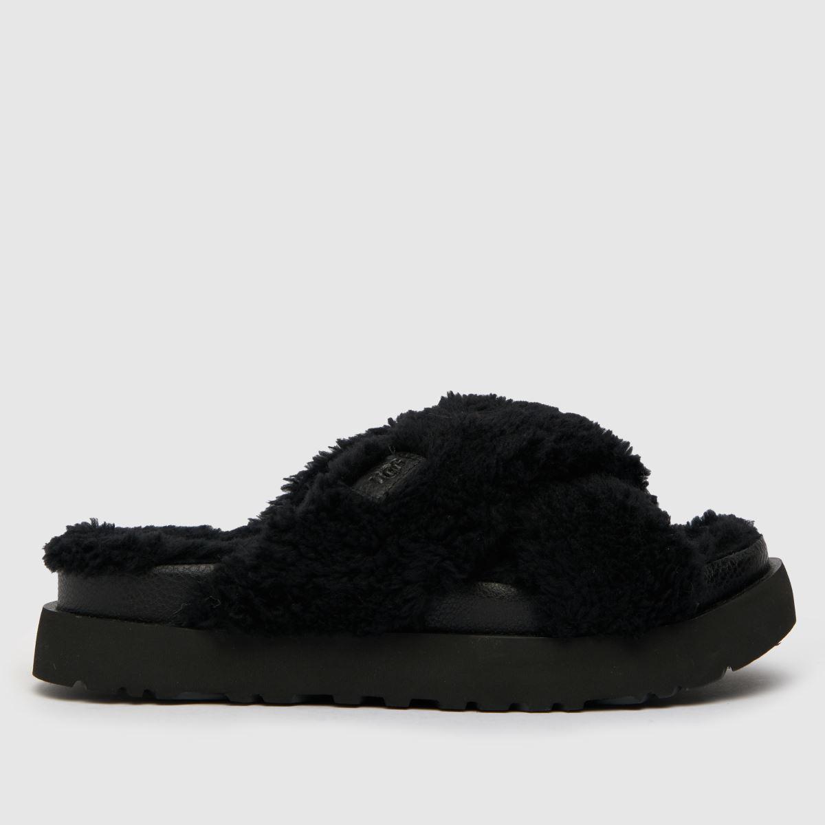 UGG Black Fuzz Sugar Cross Slide Slippers