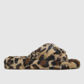 schuh Beige & Brown Helen Faux Fur Cross Vamp Womens Slippers