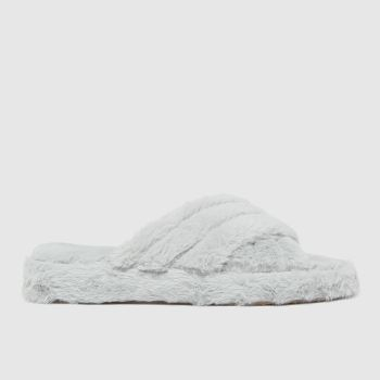schuh Grey Helen Faux Fur Cross Vamp Womens Slippers