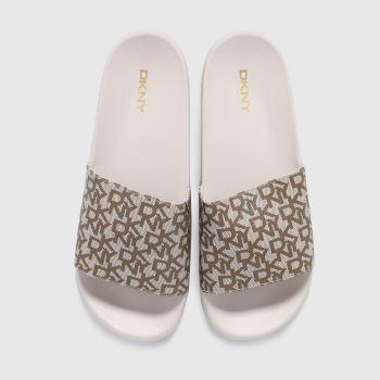 DKNY White & Beige Zella Logo Slide Womens Sandals