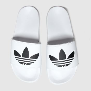 Adidas White & Black Adilette Lite Slide Womens Sandals#