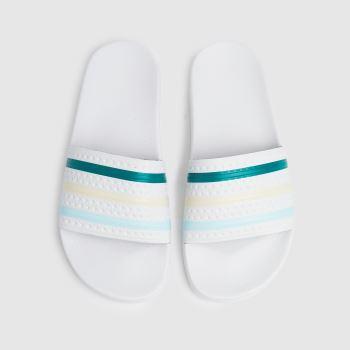adidas White & Green Adilette Womens Sandals