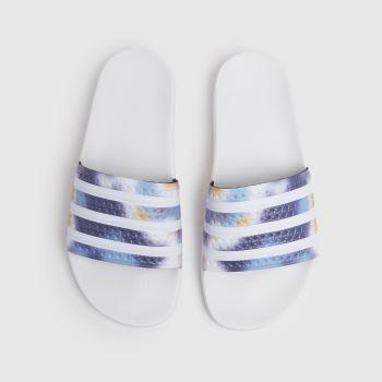 adidas White & Blue Adilette Womens Sandals