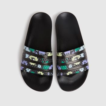 adidas Black and blue Adilette Womens Sandals