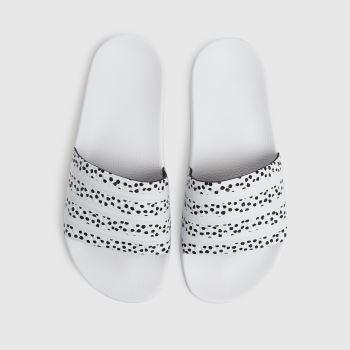 adidas White & Black Adilette Womens Sandals