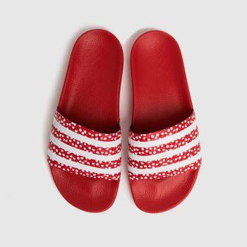 adidas Red Adilette Womens Sandals