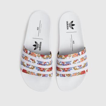 adidas White Adilette Womens Sandals