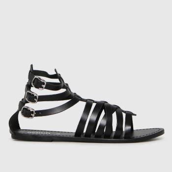 schuh Black Taurus Leather Gladiator Womens Sandals