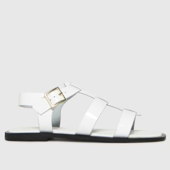 schuh White Tyrion Leather Gladiator Womens Sandals