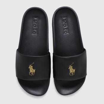 LAUREN RALPH LAUREN Black & Gold Cayson Slide Womens Sandals