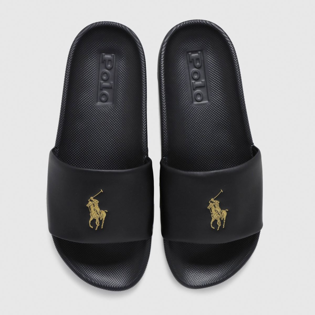 LAUREN RALPH LAUREN Black & Gold Cayson Slide Sandals