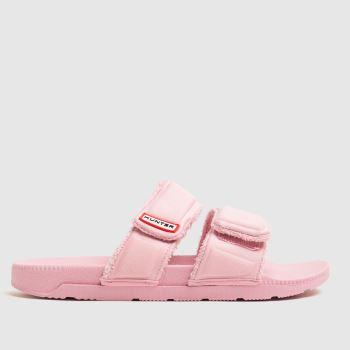 Hunter Pale Pink Original Two Strap Slide Womens Sandals