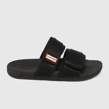 Hunter Black Original Two Strap Slide Womens Sandals