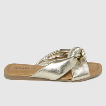 schuh Gold Tiara Leather Knot Womens Sandals