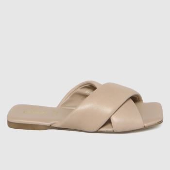 schuh Natural Tania Leather Cross Strap Womens Sandals