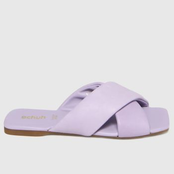 schuh Lilac Tania Leather Cross Strap Womens Sandals