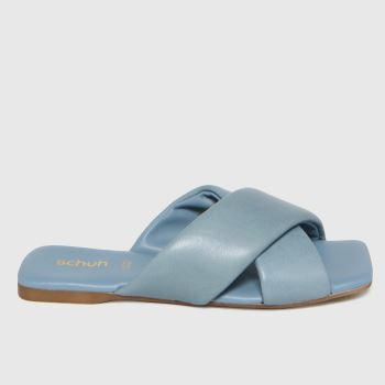 schuh Pale Blue Tania Leather Cross Strap Womens Sandals