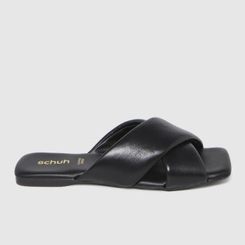schuh Black Tania Leather Cross Strap Sandals