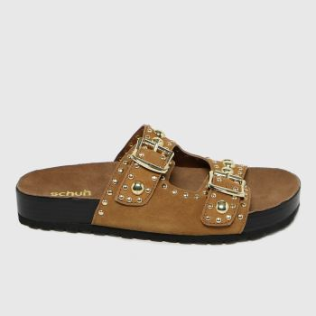 schuh Tan Tatyana Suede Studded Footbed Womens Sandals