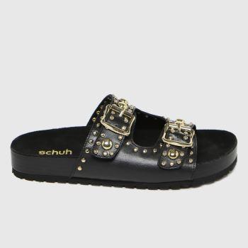 schuh Black Tatyana Leather Studded Womens Sandals