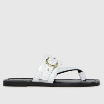 schuh White Terri Leather Toe Post Buckle Womens Sandals