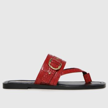 schuh Red Terri Leather Toe Post Buckle Womens Sandals