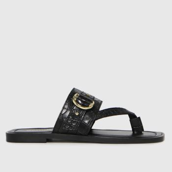 schuh Black Terri Leather Toe Post Buckle Womens Sandals