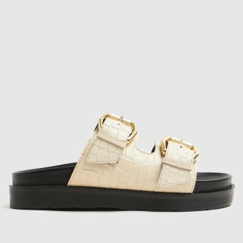 schuh Natural Tash Chunky Buckle Footbed Womens Sandals