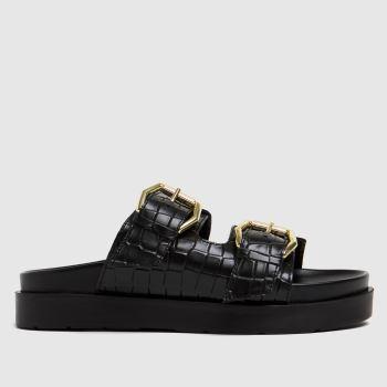 schuh Black Tash Chunky Buckle Footbed Womens Sandals
