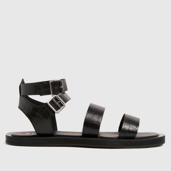 schuh Black The Edit Petra Croc Leather Sandals