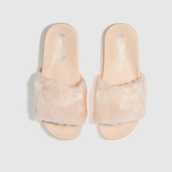 SCHUH PALE PINK BLURRY SLIDER SANDALS
