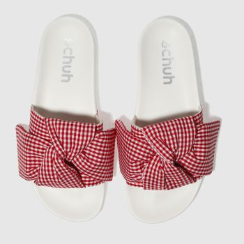 Schuh White & Red BESTIE SLIDER Sandals
