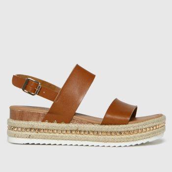 schuh Tan Violet Pu Flatform Womens Sandals