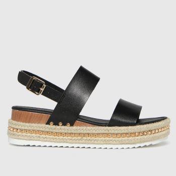 schuh Black Violet Pu Flatform Womens Sandals