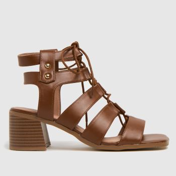 schuh Tan Victory	 Ghillie Block Heel Womens Sandals