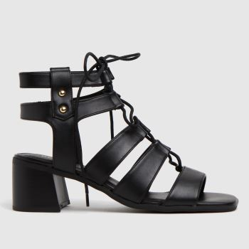 schuh Black Victory	 Ghillie Block Heel Womens Sandals