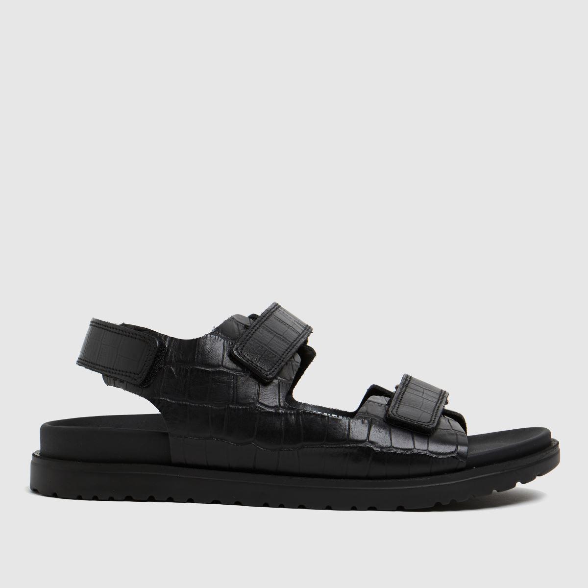 The Edit By Schuh Black Precious Croc Leathe Sandals