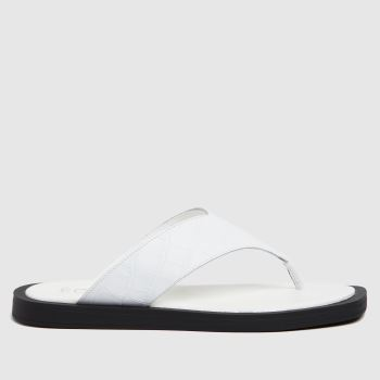 The Edit by schuh White Pippa Croc Leather Toe Tong Womens Sandals
