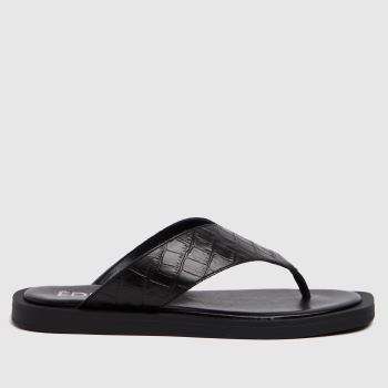 The Edit by schuh Black Pippa Croc Leather Womens Sandals