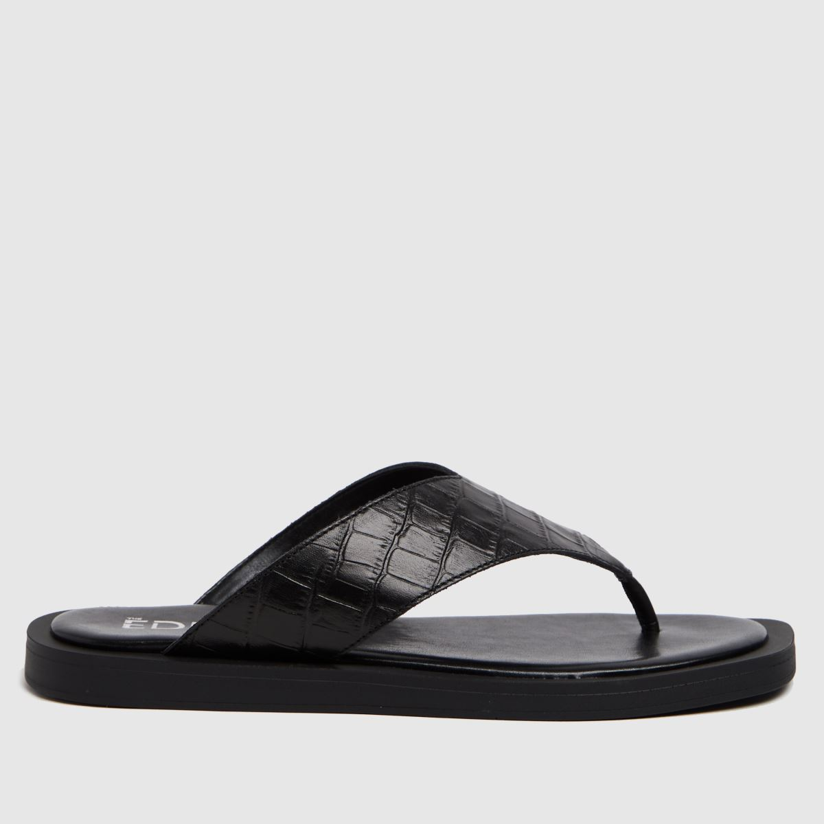 The Edit By Schuh Black Pippa Croc Leather Sandals