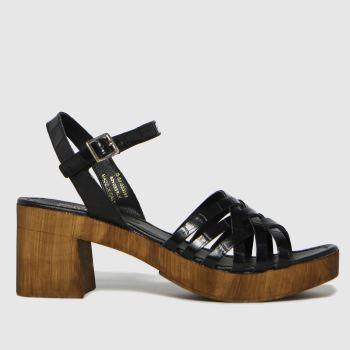 schuh Black Vienna Croc Leather Wood Womens Sandals