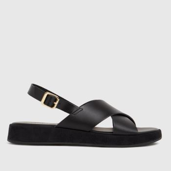schuh Black Tiana Leather Cross Strap Womens Sandals