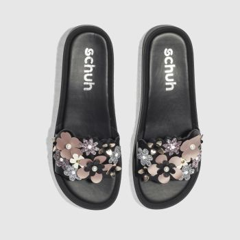 Schuh Black Flower Power Slider Womens Sandals