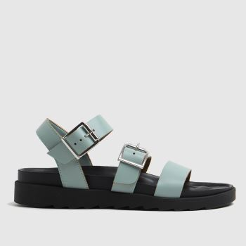 schuh Green Chaser Leather Chunky Buckle Womens Sandals