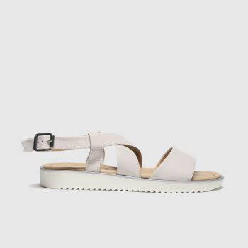 schuh Beige Rome Leather Cross Strap Womens Sandals