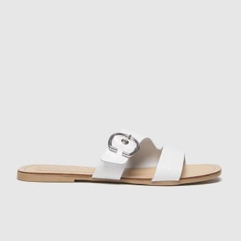 schuh White London Leather Buckle Mule Sandals