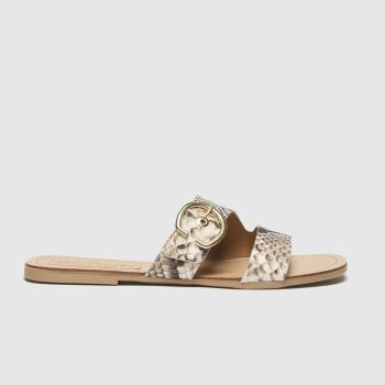 schuh Brown & Black London Leather Buckle Mule Womens Sandals