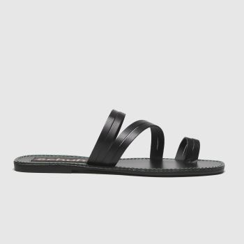 schuh Black Marbs Leather Toe Loop Womens Sandals