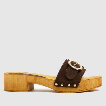 schuh Brown Vanessa Suede Clog Womens Sandals